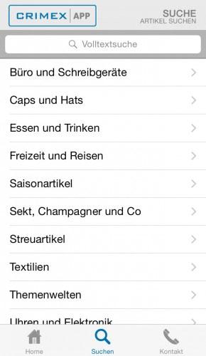 Suchfunktion nach Kategorien
